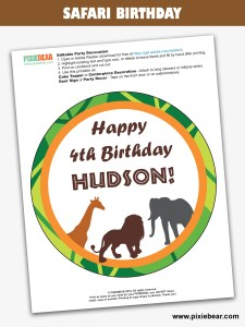 Safari Birthday Free Printable by Pixiebear