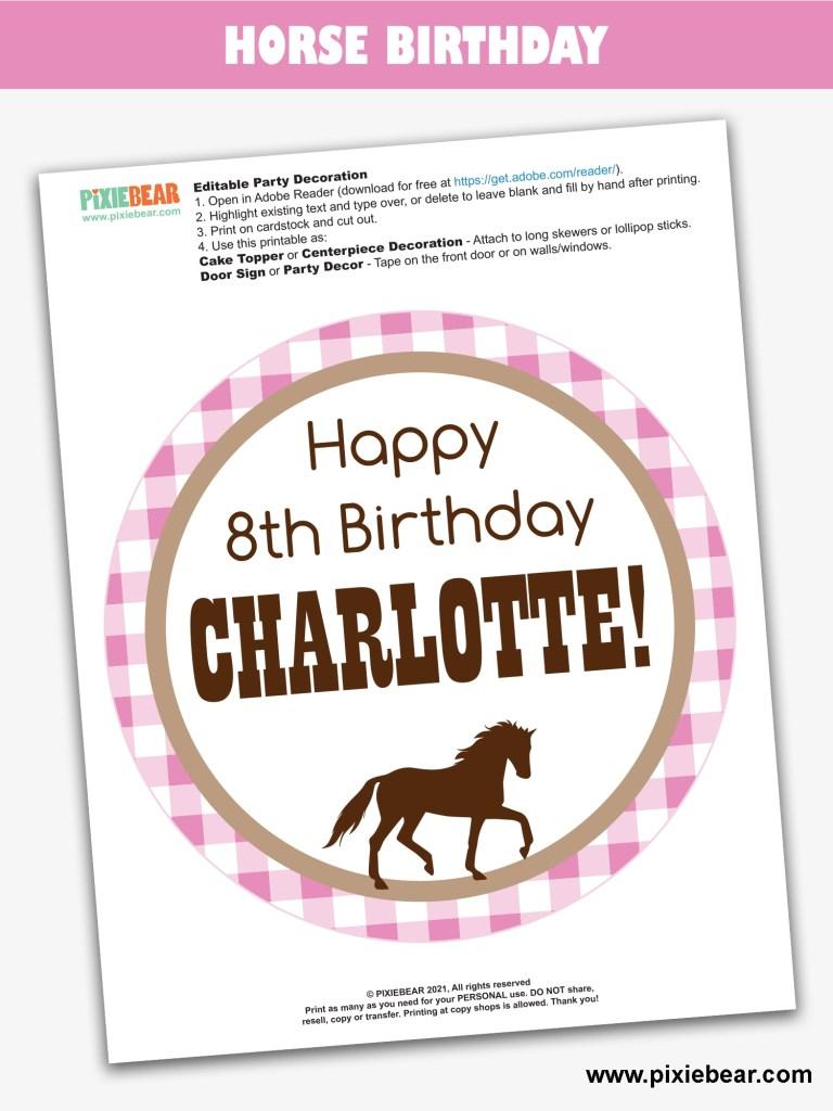 Horse Birthday Free Printable by Pixiebear