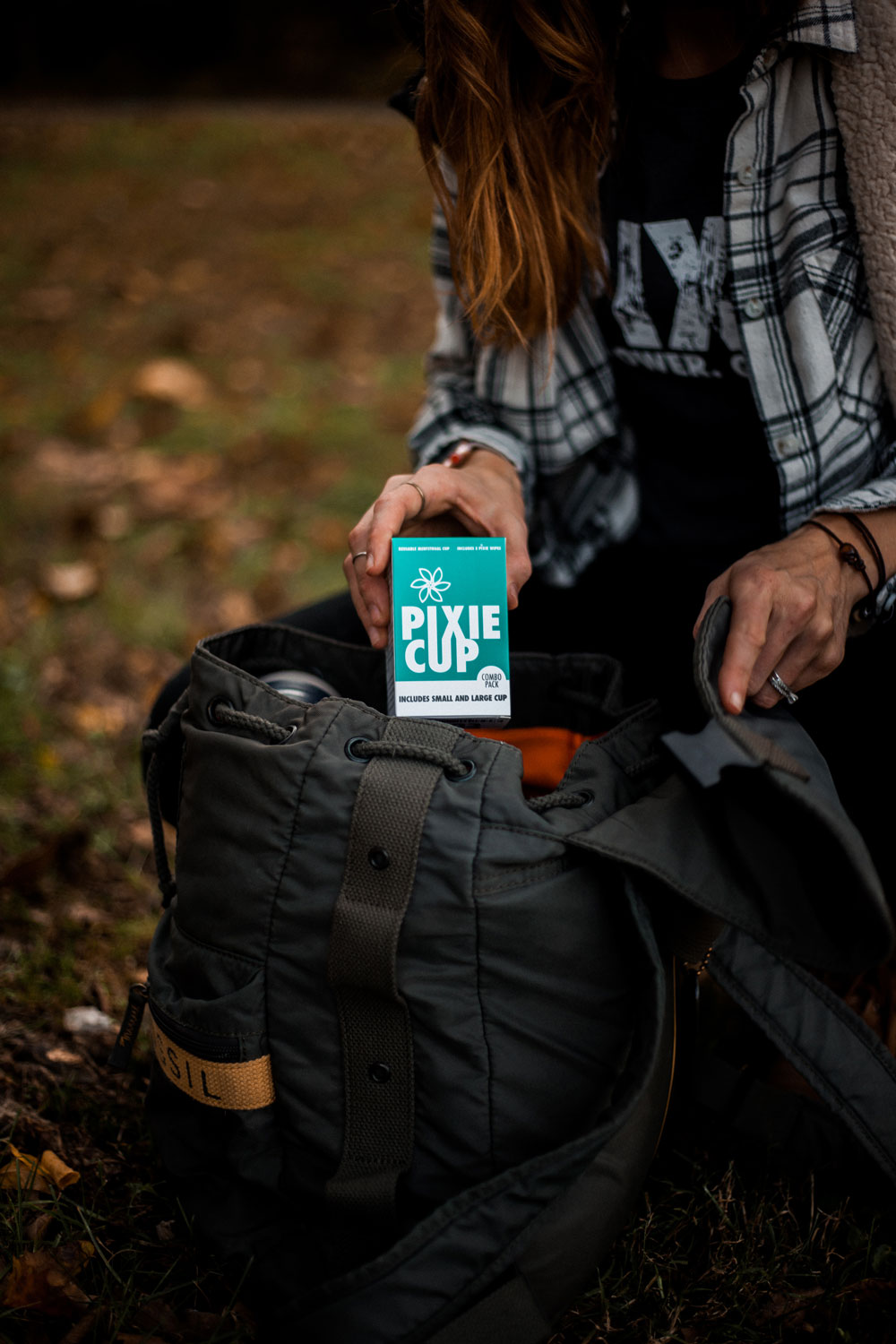 Pixie menstrual cup in a camping backpack