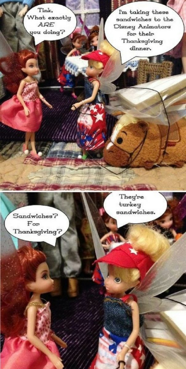 Doll Photo Story: Tinkerbell Takes Turkey Sandwiches To Animator Dolls