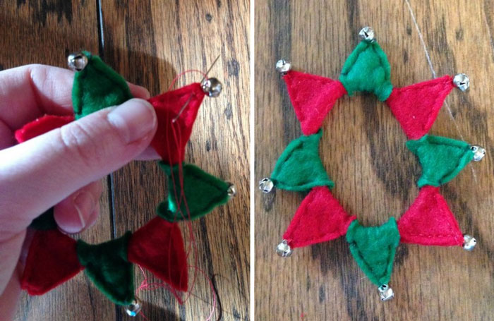 Sew Bells To Pointed Ends Of Felt