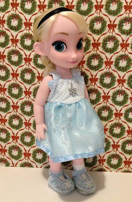 Disney Animator Elsa Doll Wearing Blue Snowflake Dress