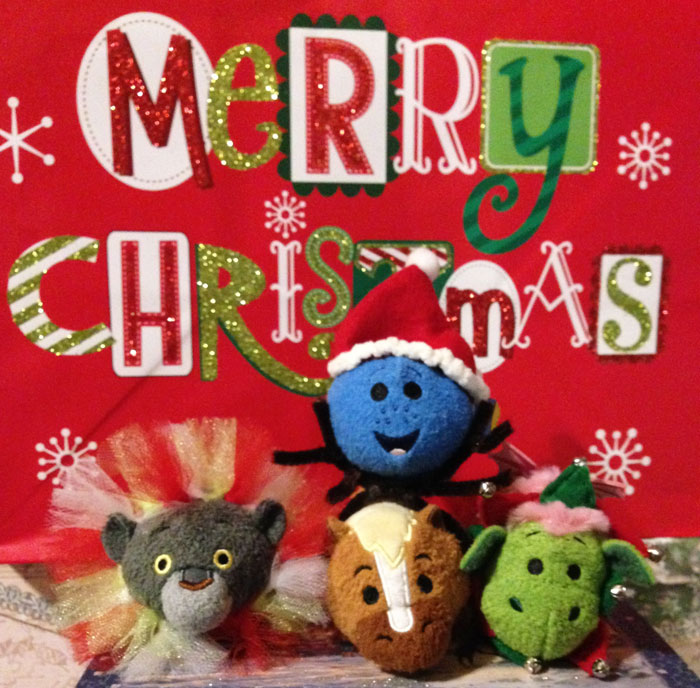 Tsum Tsums With Merry Christmas Background