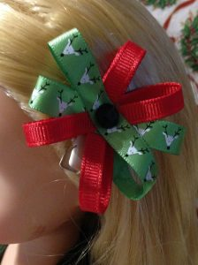 Christmas Hair Bow For Rapunzel Doll
