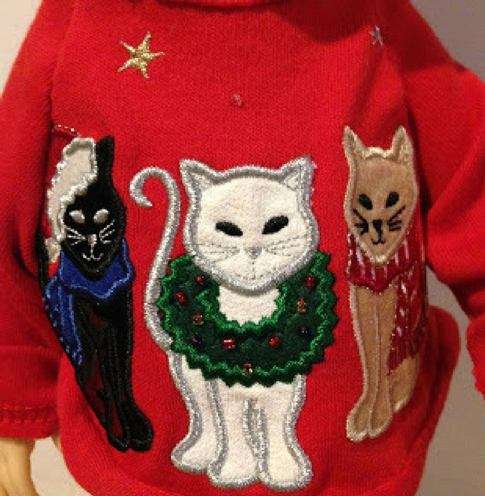 Red Doll Shirt With Embroidered Cats