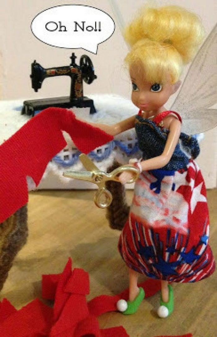 Image of Tinkerbell Doll Cutting Too Much Fabric