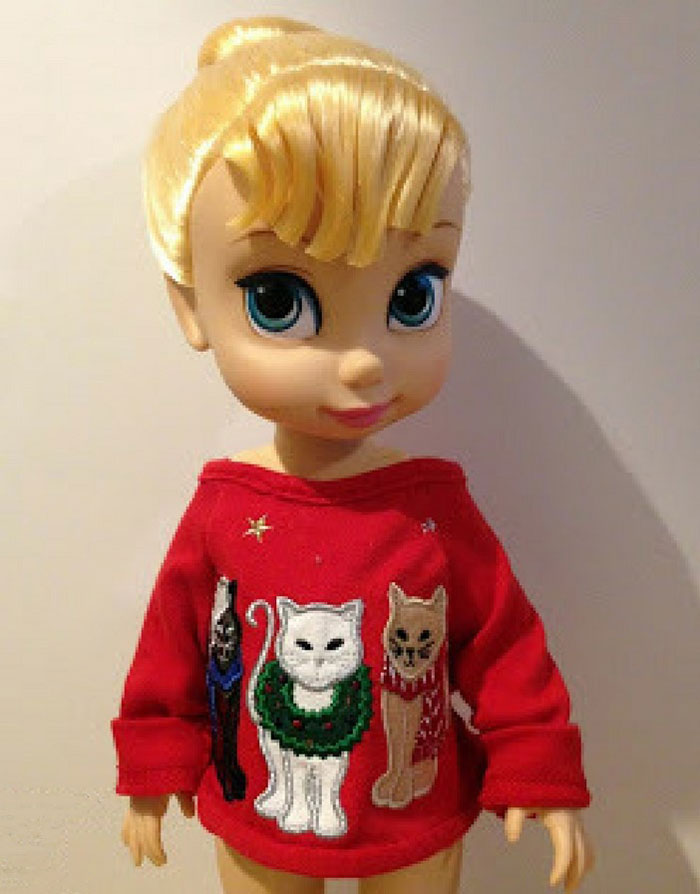Image Of Tinker Bell Doll Wearing Sweater