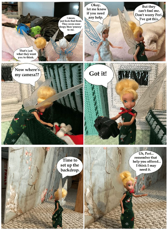 Doll Photo Story: Tink Sets Up Backdrop And Camera To Review Tsum Tsums