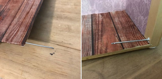 Push Cut Paper Clip Sections Into Floor And Side Of Box