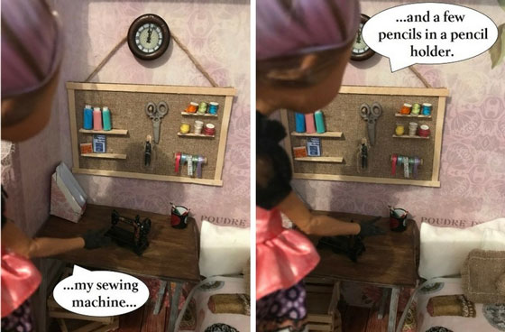 Doll Desk With Sewing Machine And Pencils