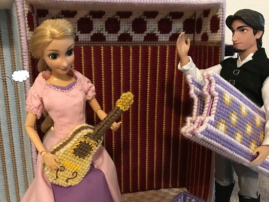 Rapunzel Doll Holding Plastic Canvas Guitar