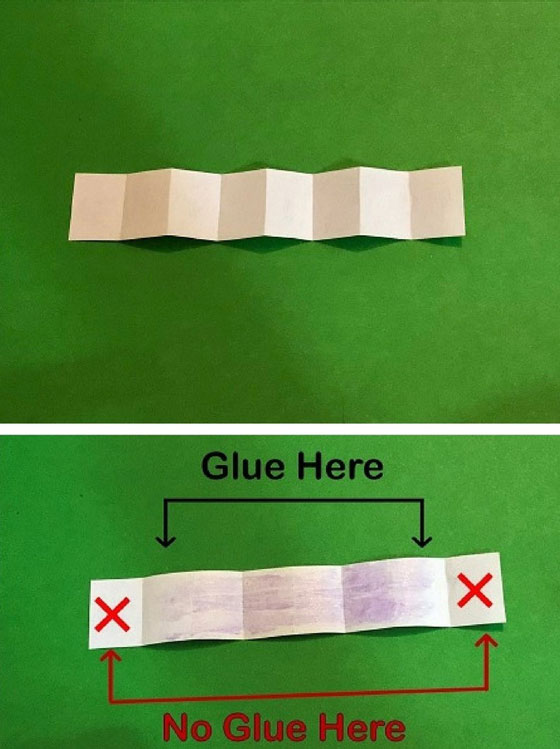 Apply glue to back of pages excluding the page at each end.