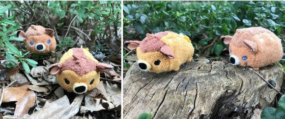 Bambi and Faline tsum tsums on tree stump.