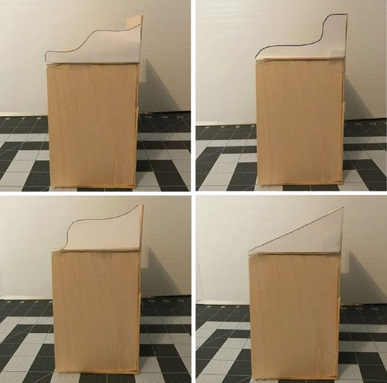 Four different curved edges for desk.