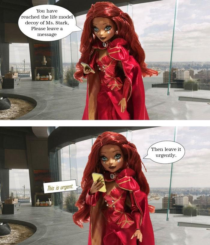 Iron Man Fan Girl Doll With Speech Bubbles