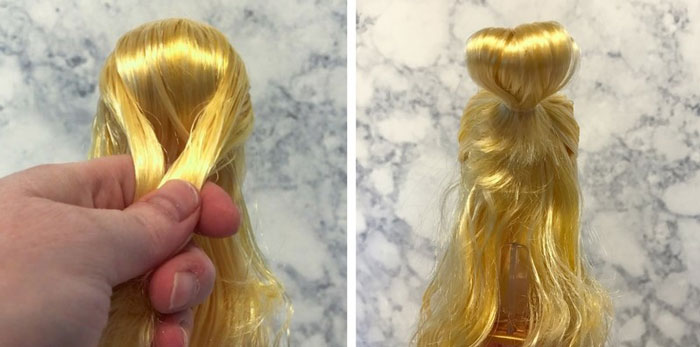 Image: Tie The Doll's Hair Into A Bun.