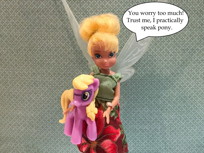 Doll Photo Story: Tink Holding My Little Pony Figure