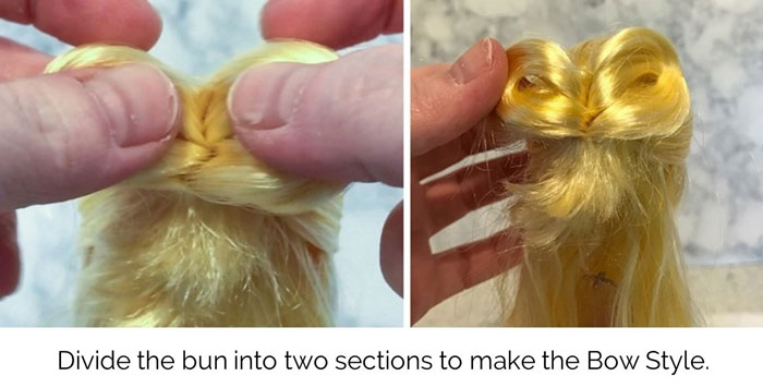 Image: Divide The Bun To Make The Bow Style.