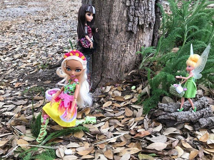 Our doll's Easter egg hunt!