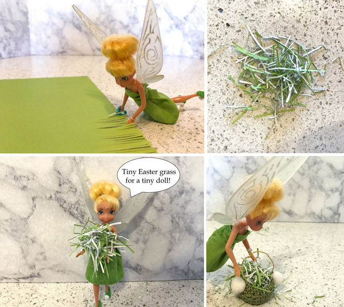 Make miniature Easter grass using thin strips of paper.