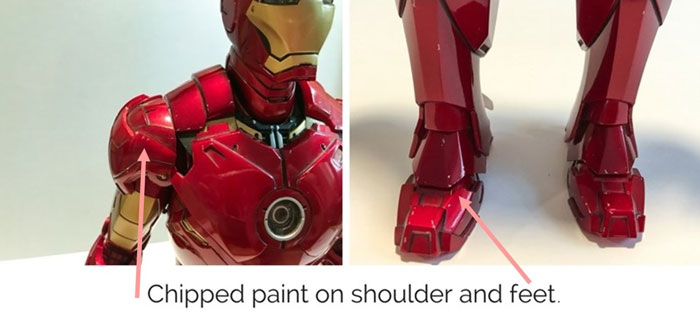 Chipped paint on Iron Man Mark IV armor.