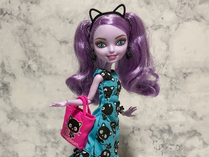 A little bit of sewing made this Barbie dress fit Kitty Cheshire perfectly.