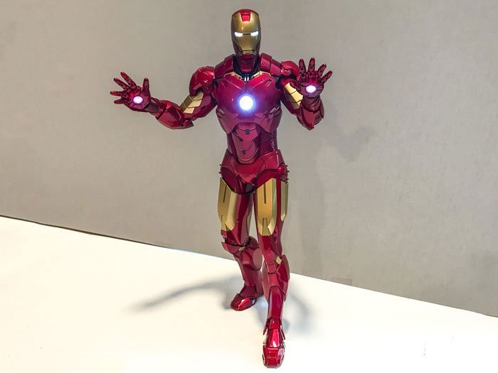 Hot Toys Iron Man figure with LED features.