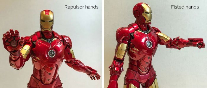 Iron Man Mark IV figure with repulsor and fisted hands.