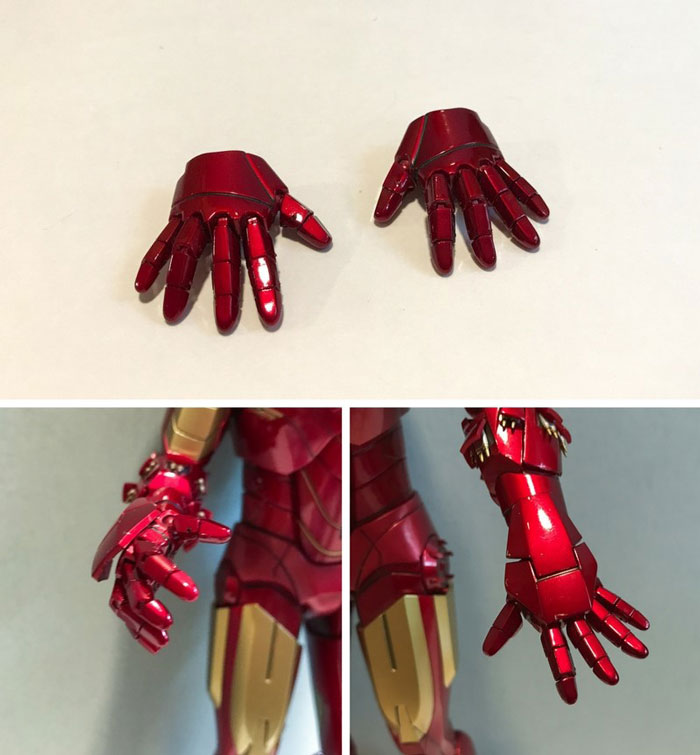 Iron Man action figure hands with articulated fingers.