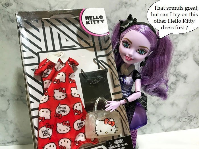 Image of Kitty Cheshire asking: Can I try on this other Hello Kitty dress first?