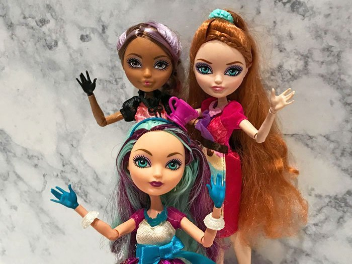 Ever After High dolls: Cedar Wood, Holly O'Hair, and Madeline Hatter.