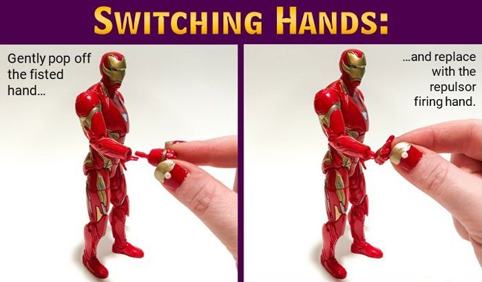 Image showing how to change Iron Man's hands.