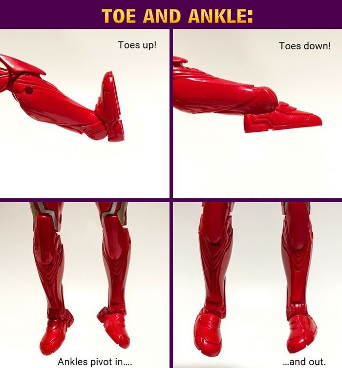 Image showing Iron Man action figure ankle articulation.