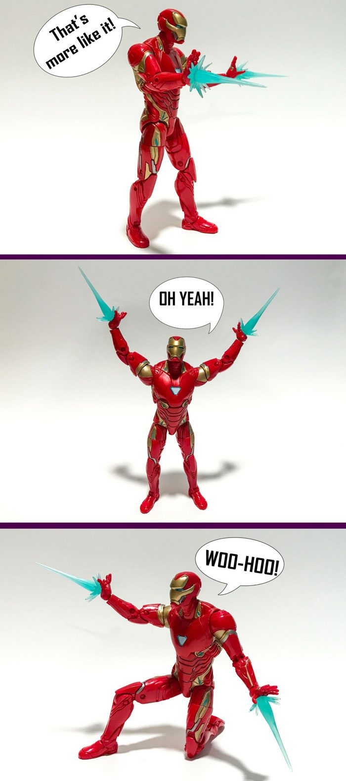 Image of Iron Man action figure with blast effects.