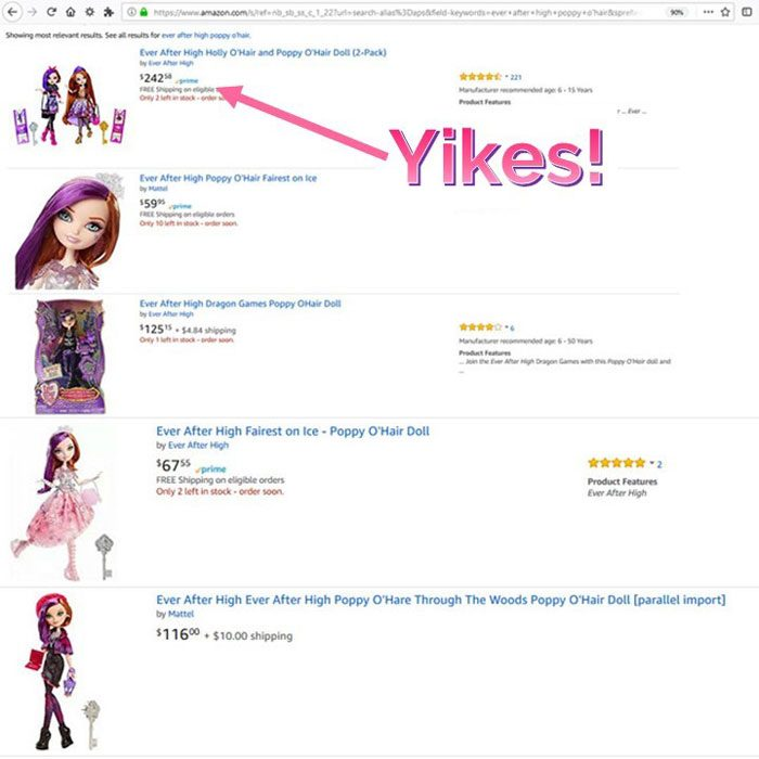 Screenshot of Poppy O'Hair's price on Amazon--May 5th, 2018.