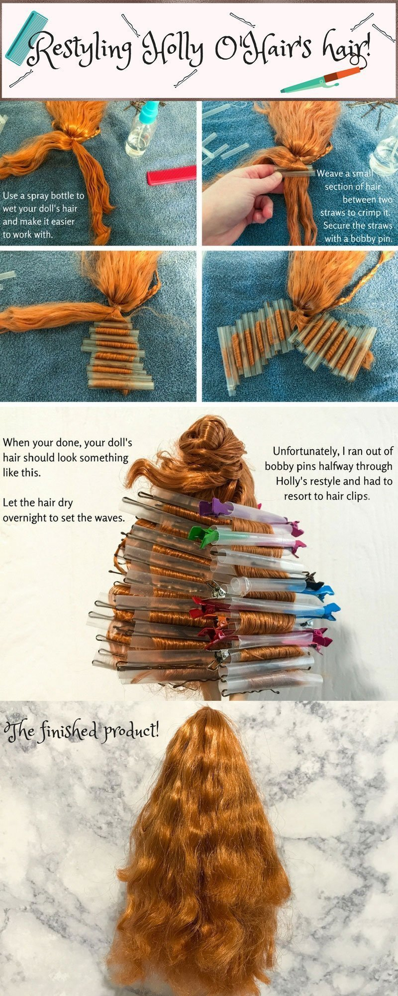 Infographic showing how to crimp doll hair.