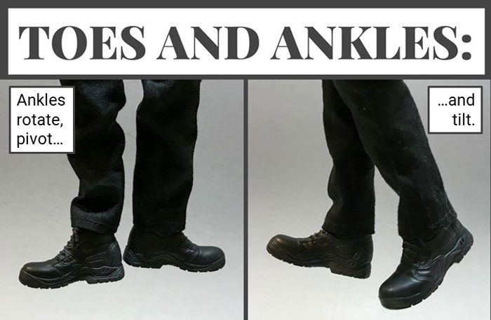 Hinged ankles give Tony's feet full rotation.