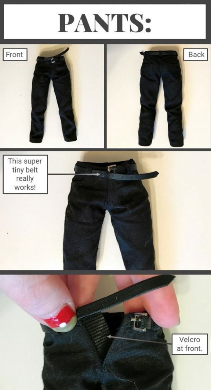 1:6 Scale doll pants with working belt.
