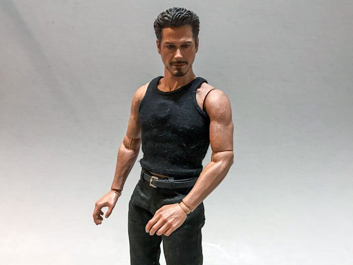 Hot Toys Tony Stark wearing black tank top.