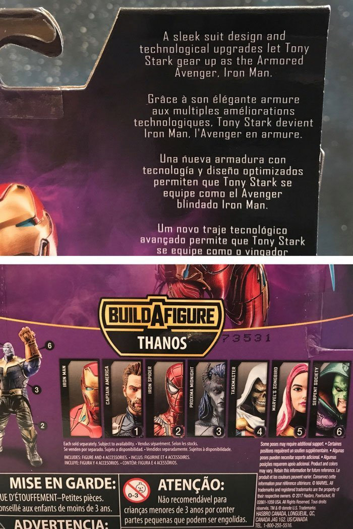 Marvel Legends Iron Man box description and images.