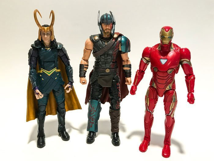Marvel Legends Action Figures: Loki, Thor, Iron Man.