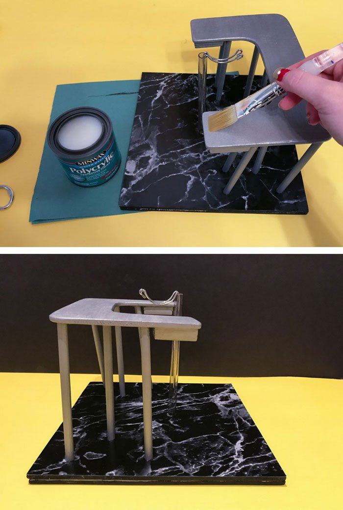 Use a gloss Polycrylic to seal the doll desk.