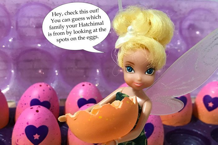 Image of Tinkerbell holding Hatchimal egg.