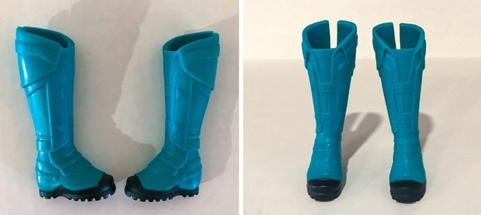 These wide boots help Captain Marvel to balance on her own.