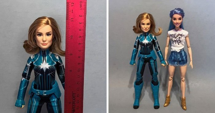The Captain Marvel Starforce doll is the same height as an original Barbie.