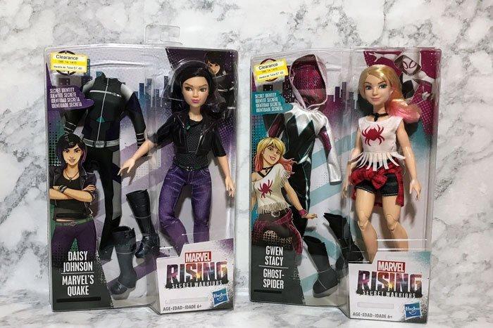 Marvel Rising: Secret Identity Dolls: Ghost-Spider and Quake.