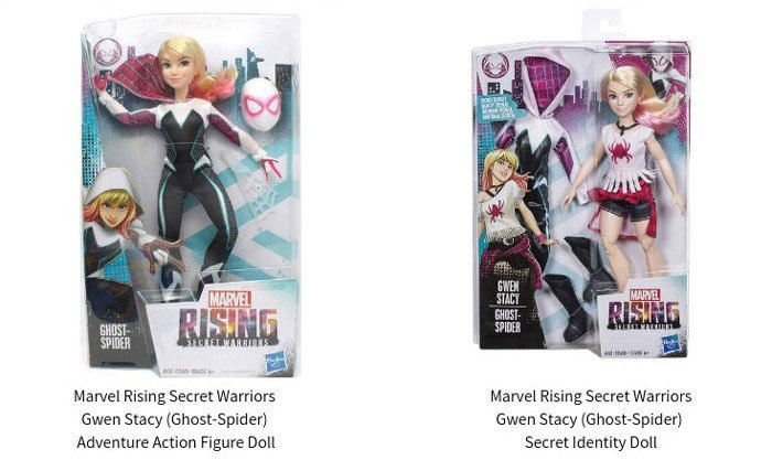 Marvel Rising: Secret Warriors Ghost Spider Adventure Action Figure doll and Secret Identity doll.