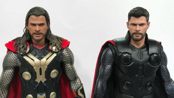 Dark World Thor and Infinity War Thor by Hot Toys.