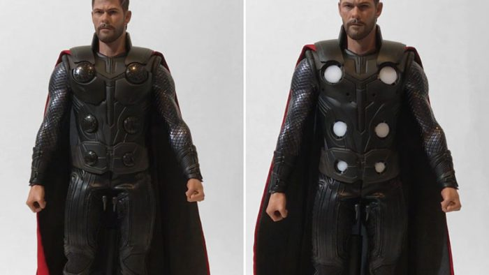 Infinity War Thor LED light-up feature.