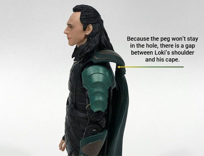 Image showing gap between Loki's cape and his shoulders.